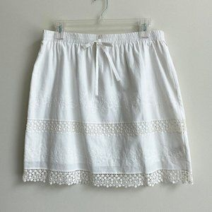 Laundry White Cotton Embroidered Lace Skirt XL